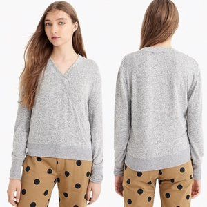 J. Crew Grey Supersoft Faux Wrap Top